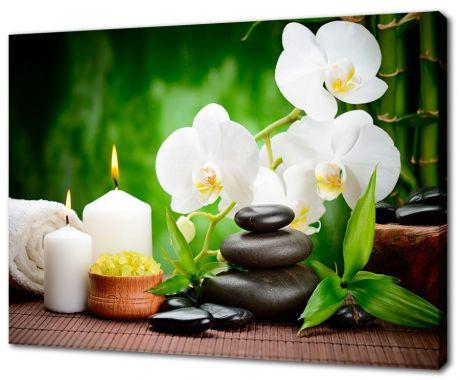 Картина на холсте Лилии и свечи