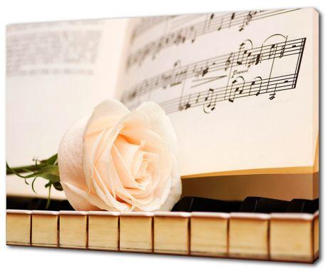 Картина на холсте Роза на пианино