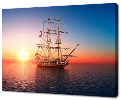 Картина на холсте Корабль на закате