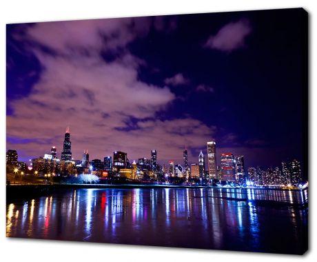 Картина на холсте Ночной Чикаго