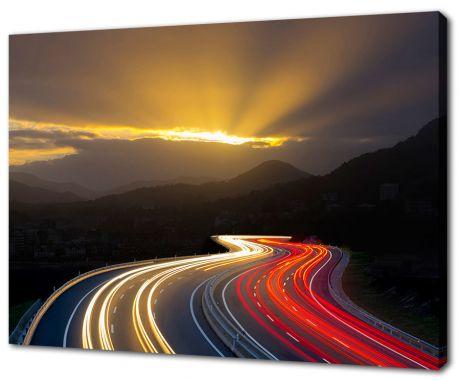 Картина на холсте Ночной автобан