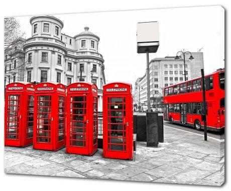 Картина на холсте Телефонные будки и автобус