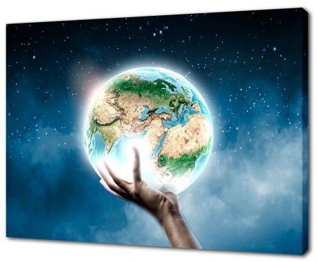 Картина на холсте Земля в руке