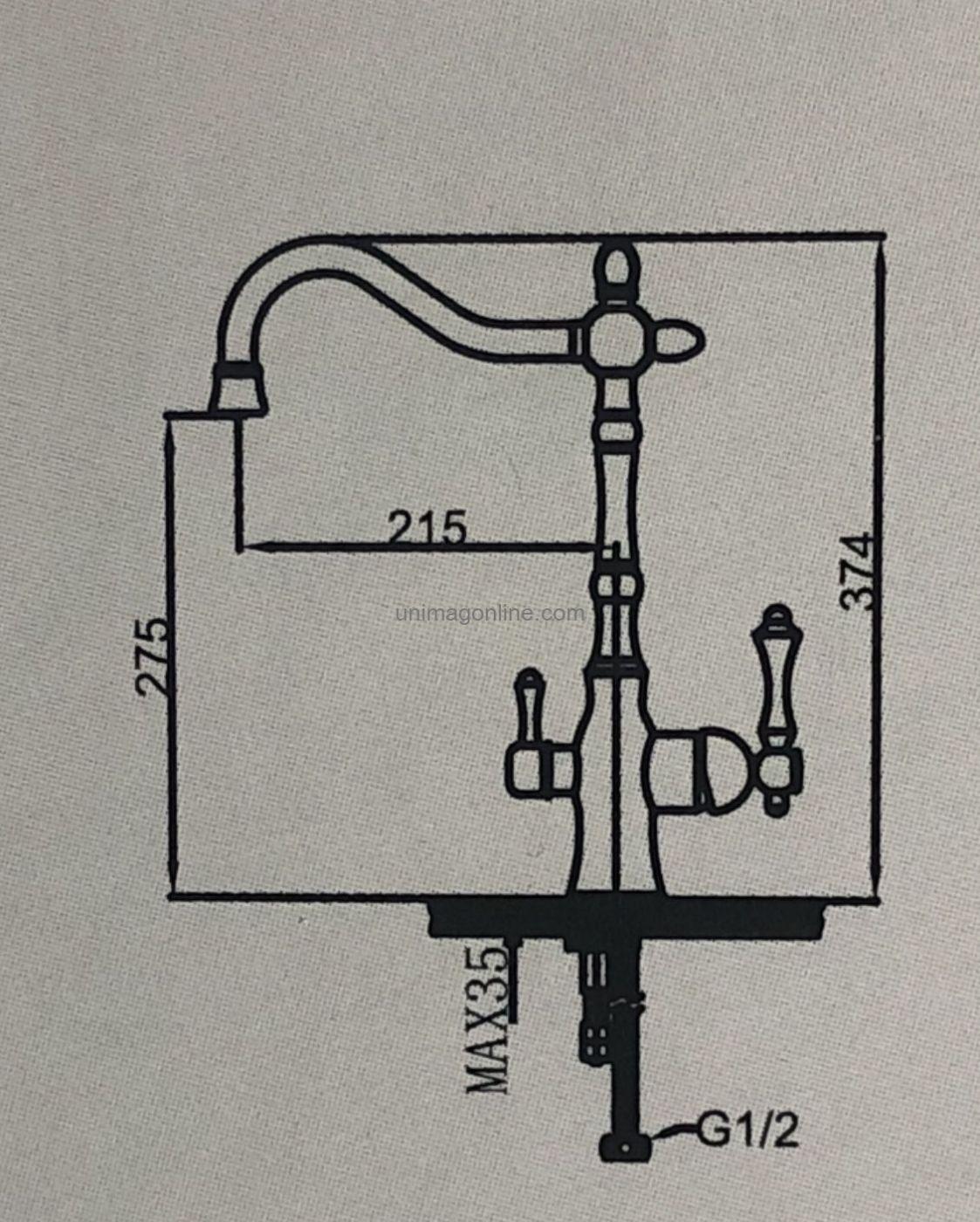Смеситель для кухни с выходом под фильтр Faop A4305-4 Бронза