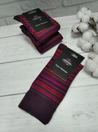Мужские цветные носки  с418 бордовая  полоска