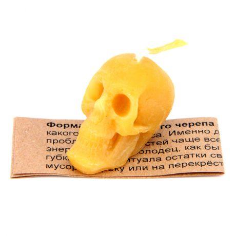 Свеча Череп малый, цвет жёлтый