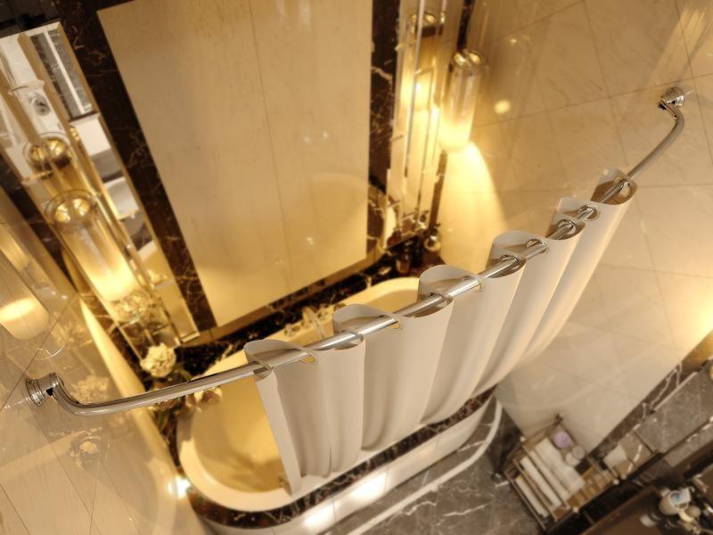 Карниз для ванной комнаты Elghansa Monterno CR-3 Chrome дуговой с кольцами телескопический, хром
