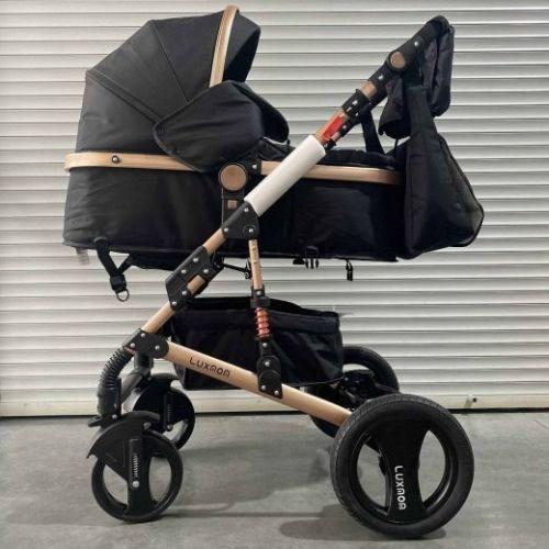 Коляска-трансформер 2в1 Luxmom 530 Черный текстиль+сумка для мамы