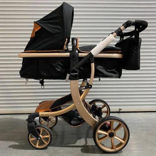 Коляска-трансформер Lux mom 608 2в1 Чёрный текстиль золотые колеса золотая рама +сумка для мамы