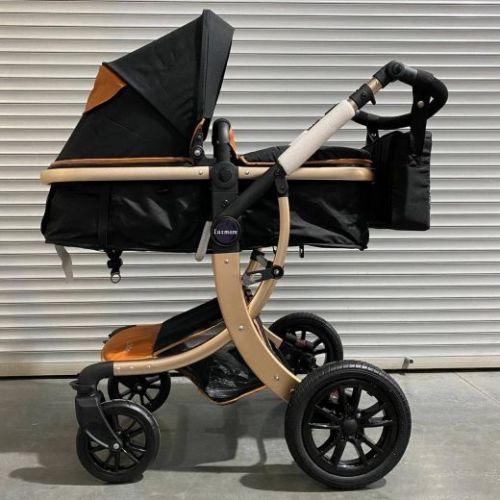 Коляска-трансформер Lux mom 608 2в1 Чёрный текстиль чёрные колеса золотая рама+ сумка для мамы