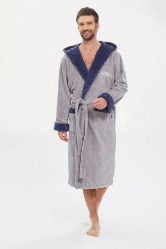 Мужской махровый халат из бамбука Lifeguard светло-серый