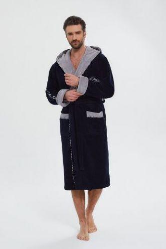 Мужской махровый халат из бамбука Lifeguard темно-синий