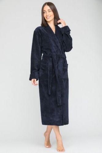 Женский махровый халат Naturel синий