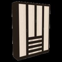 Шкаф для белья со штангой, полками и ящиками арт 110 (венге)