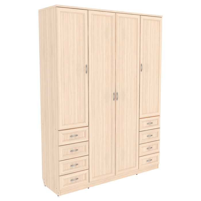 Шкаф для белья со штангой, полками и ящиками арт 112 (молочный дуб)