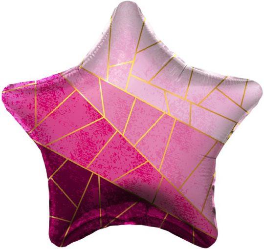 Звезда Оттенки розового золотые диагонали шар фольгированный с гелием