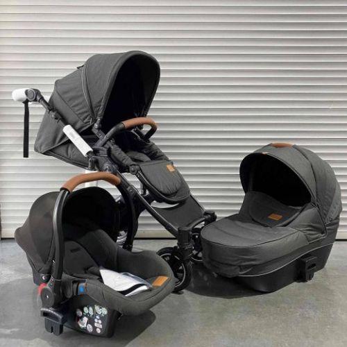 Модульная коляска 3в1 Luxmom 808 Черный текстиль