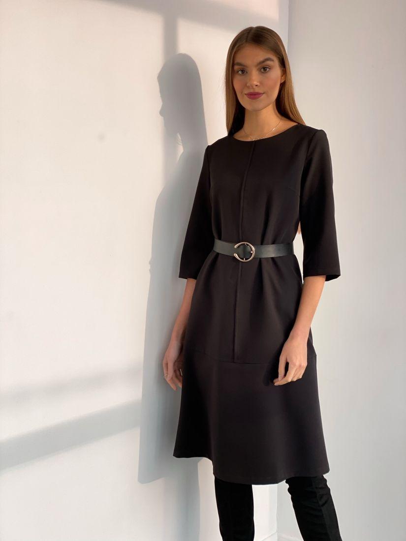 s3593 Платье-трапеция с планкой чёрное