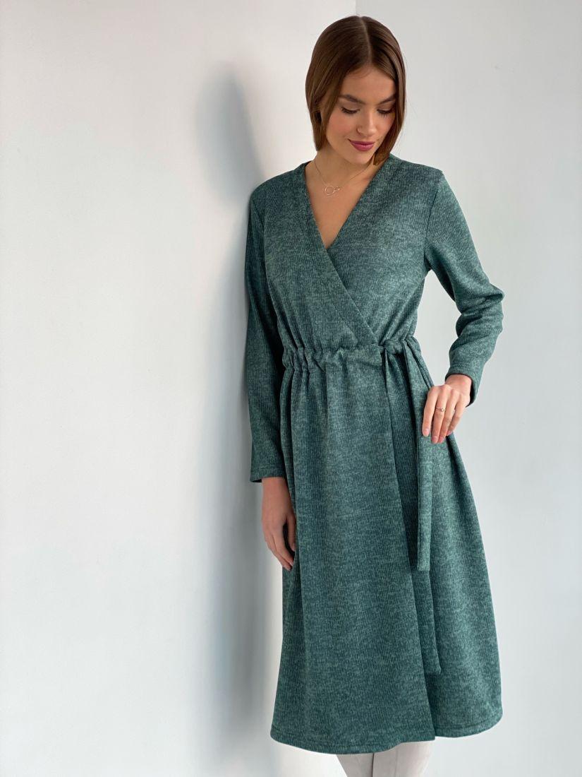 s3598 Платье с запахом из мягкого трикотажа зелёное