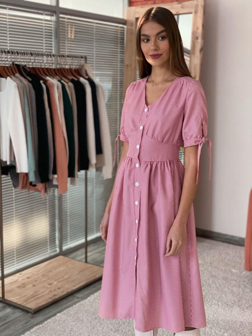 """s3607 Платье на пуговичках в красную клетку """"виши"""""""