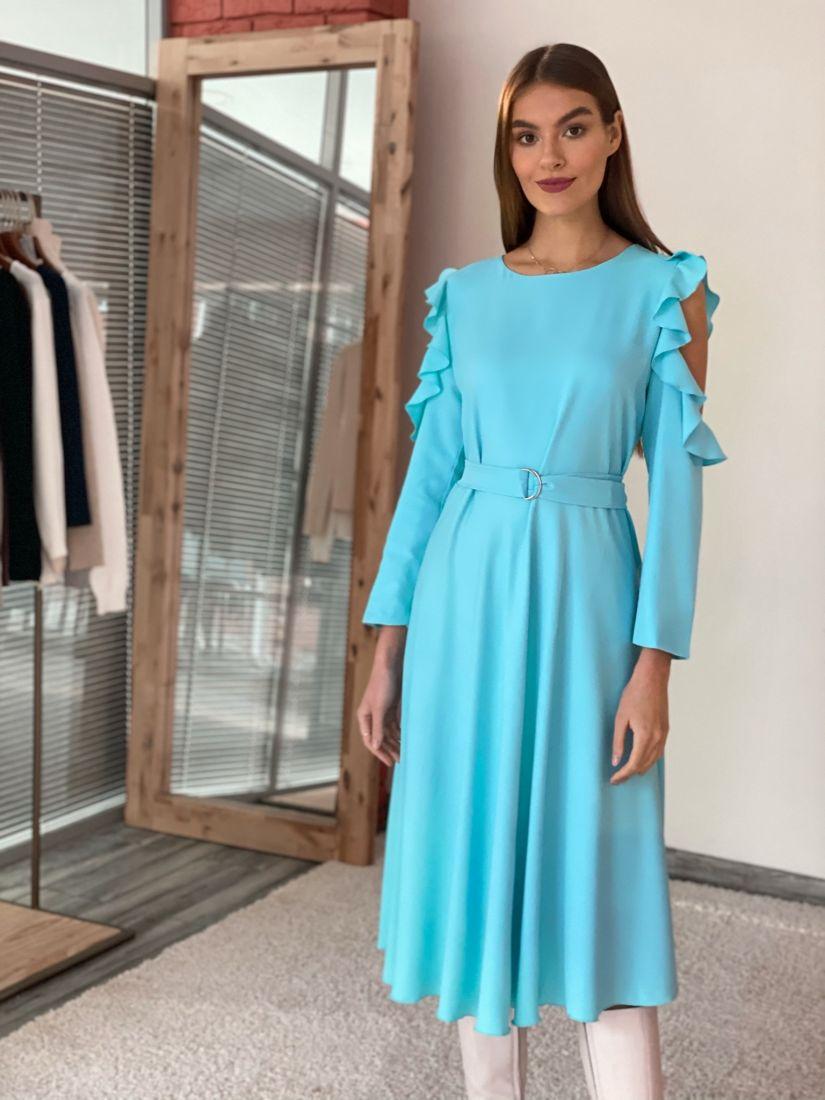 """s3611 Платье с открытыми плечами в цвете """"тиффани"""""""