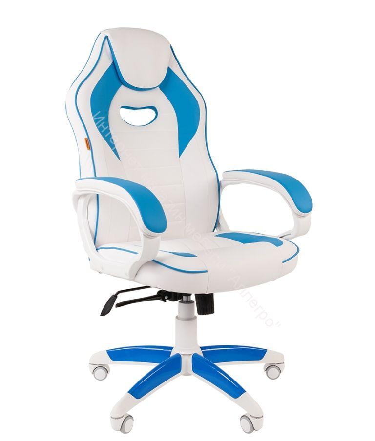 "Геймерское кресло ""CHAIRMAN GAME 16 WHITE "" (Экопремиум белый/голубой)"