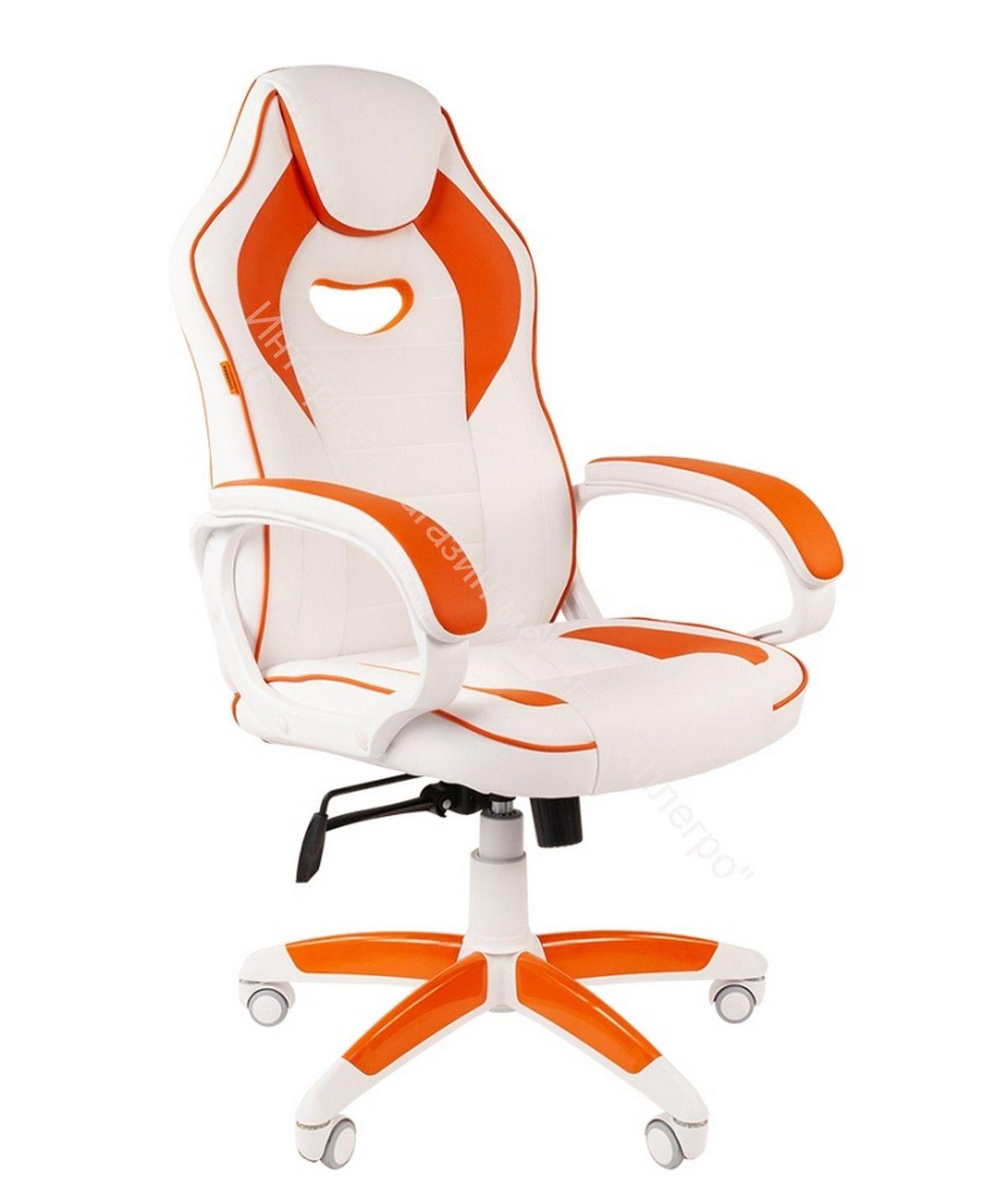 "Геймерское кресло ""CHAIRMAN GAME 16 WHITE "" (Экопремиум белый/оранжевый)"