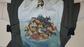Эрго рюкзак Гусленок СТАНДАРТ  ЭКСКЛЮЗИВ - Воздушный шар с бабочками ЛП Хаки 036 ПД Бежевый лен