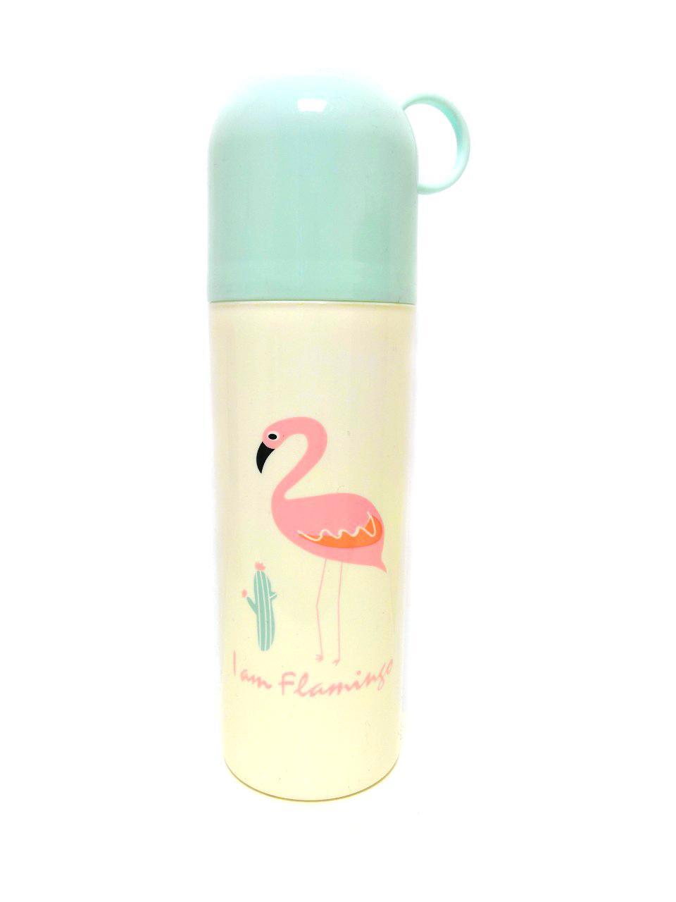 Тубус с крышкой-кружкой для хранения ванных принадлежностей Фламинго