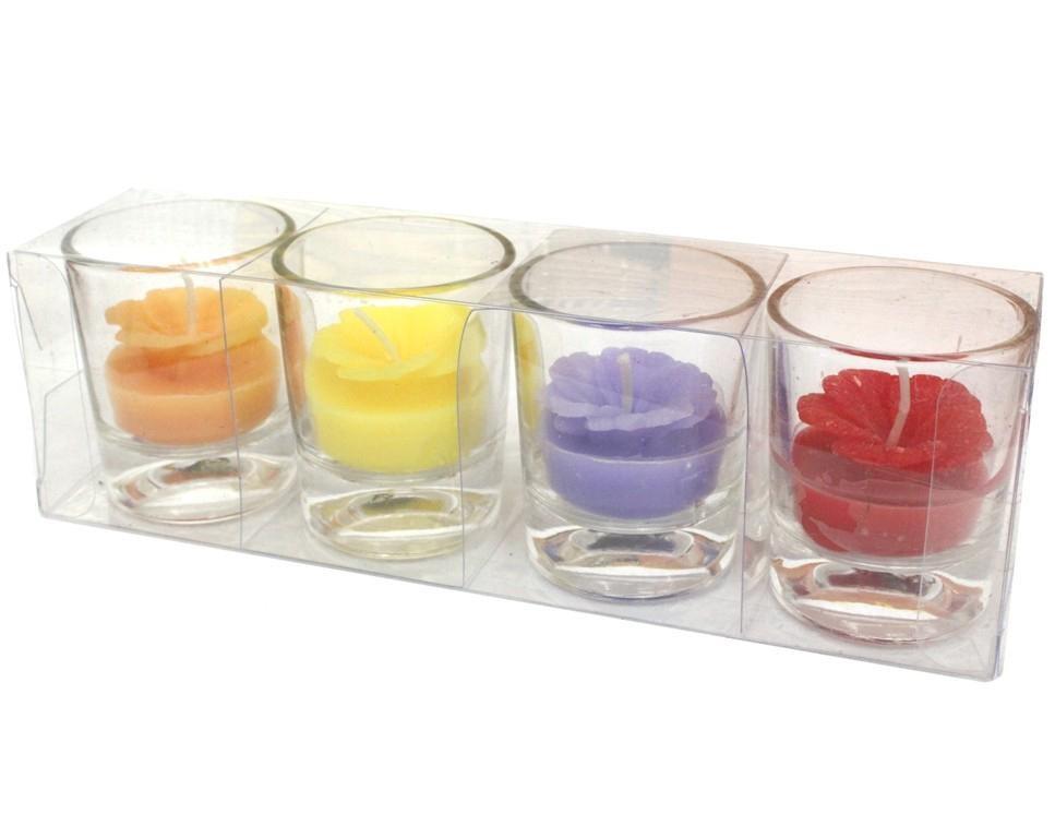 Набор подарочных свечей в стопках Цветы, 4 шт