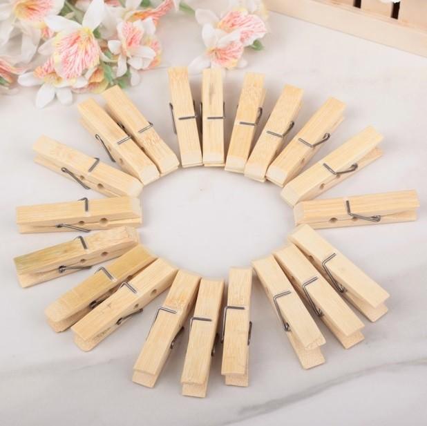 Набор бамбуковых бельевых прищепок  6 см, 20 шт