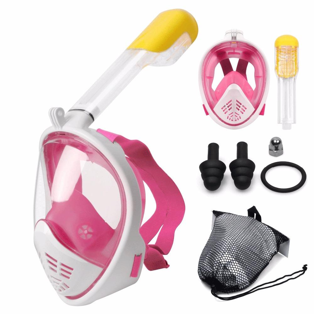 Маска для снорклинга с креплением для экшн-камеры Freebreath - цвет розовый