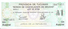 1 аустрал Аргентина «Провинция Тукуман» 1991