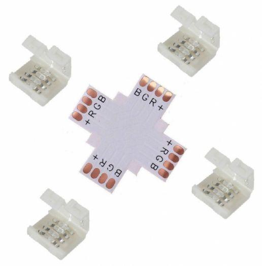 Коннектор для LED ленты RGB Огонёк TD-73 (X-образный)