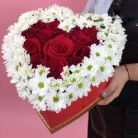 Сердце: 15 Роз с хризантемами