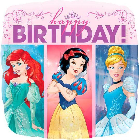 Принцессы С Днем Рождения двухсторонний шар квадратный фольгированный с гелием