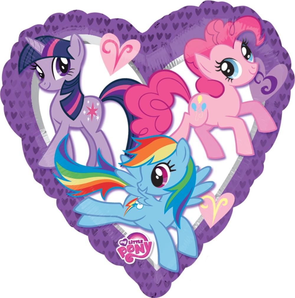 Сердце Моя Маленькая Пони фиолетовое шар фольгированный с гелием