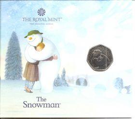 Снеговик  50 пенсов Великобритания  2020 блистер на заказ