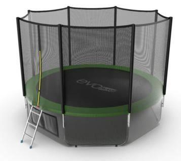 Батут с внешней сеткой и лестницей Evo Jump External 12ft (Green) + нижняя сетка