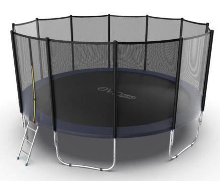 Батут с внешней сеткой и лестницей Evo Jump External 16ft (Blue)