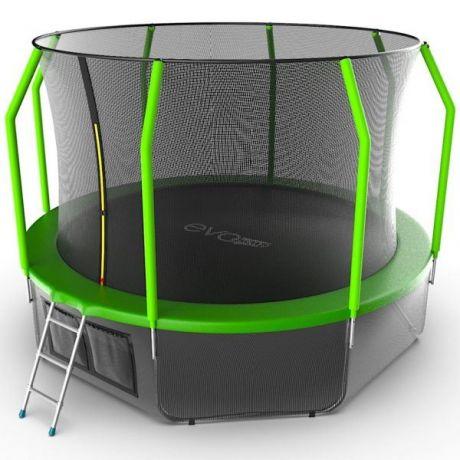 Батут с внутренней сеткой и лестницей Evo Jump Cosmo 12ft (Green) + нижняя сеть