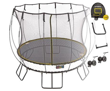 Батут круглый Sporingfree R79 SHW с лестницей, корзиной для мяча и колесиками