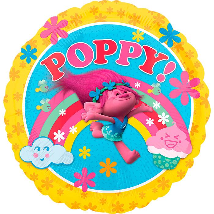 Тролль Розочка круглый шар фольгированный с гелием