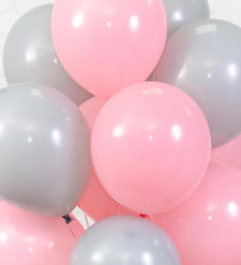 Ассорти розовый и серый латексных шаров с гелием