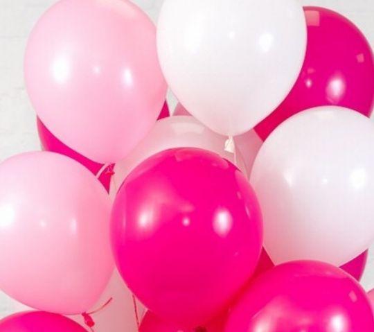 Ассорти розовый, белый, фуксия латексных шаров с гелием