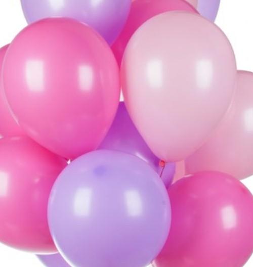Ассорти розовый, фуксия, фиолетовый латексных шаров с гелием