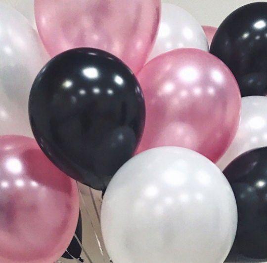 Ассорти черный, белый, розовый металлик латексных шаров с гелием