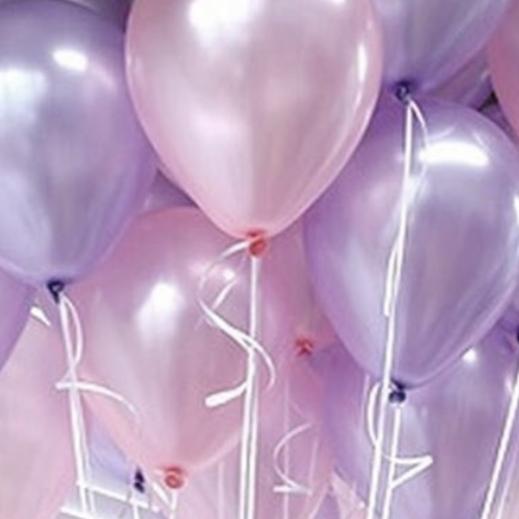 Ассорти розовый металлик и лиловый металлик латексных шаров с гелием