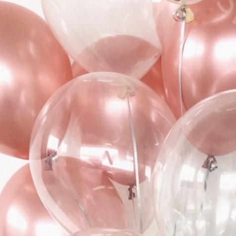 Ассорти розовое золото Хром США и прозрачный латексных шаров с гелием