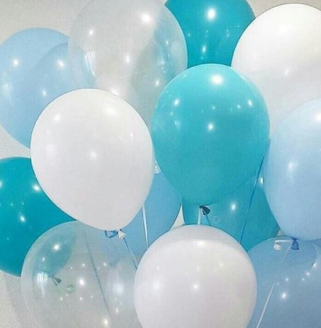 Ассорти голубой, морская волна, прозрачный, белый латексных шаров с гелием